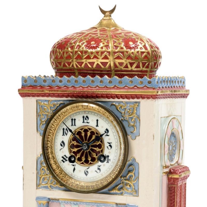 French Orientalist Porcelain Islamic Mosque Form Mantel Clock