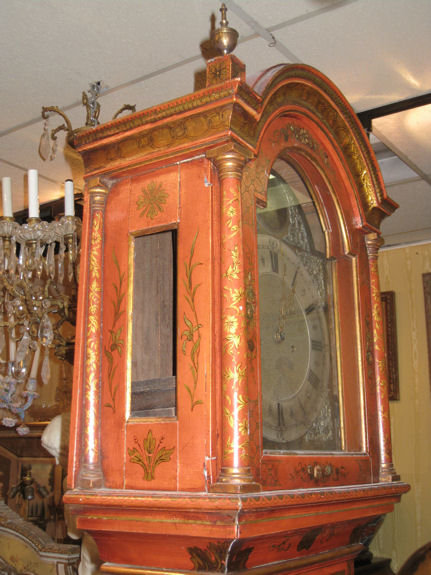 English Georgian Vermilion Red Chinoiserie Grandfather Clock Attributed to William Jackson