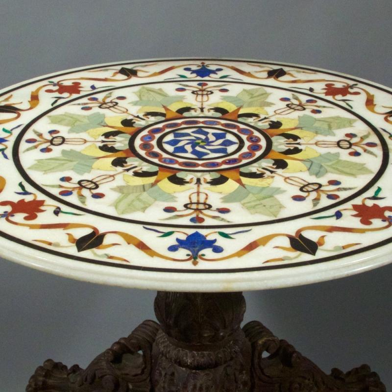 Antique Specimen Marble Round Center Table