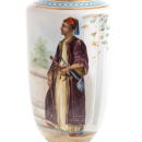Antique Opaline Glass Vase Depicting Ottoman Moroccan Sultan