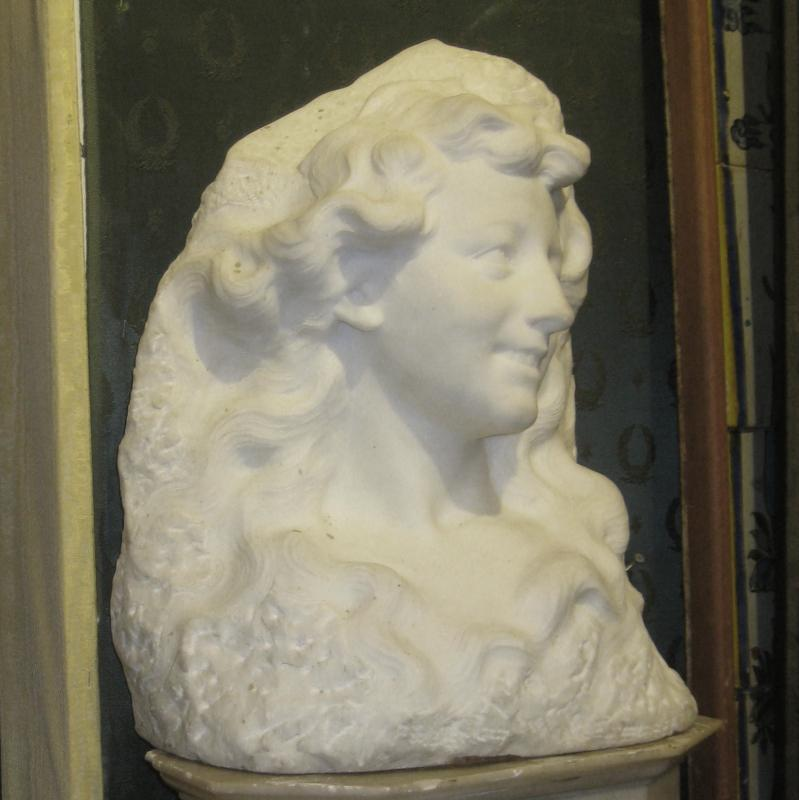 Etienne Lenhoir Art Nouveau Period Marble Bust Sculpture