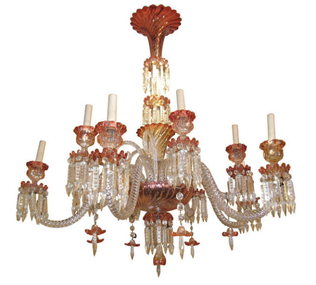 Baccarat Rose Tiente Swirl Glass 11 Light Chandelier
