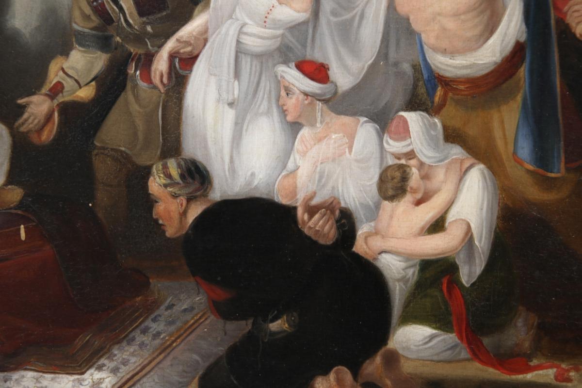 Ottoman Sultan Orientalist Genre Oil Painting After Sir William Allan (1782-1850)