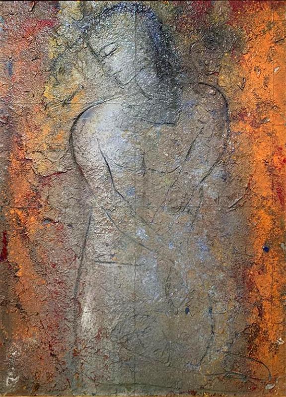 Large Fresco Tempera Painting by Jamali (American, 1944- )