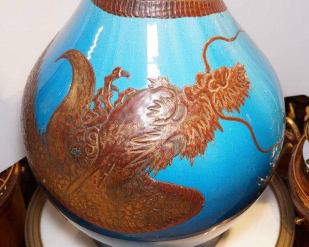 Monumental Japanese Blue and Iron Red Ceramic Dragon Vase