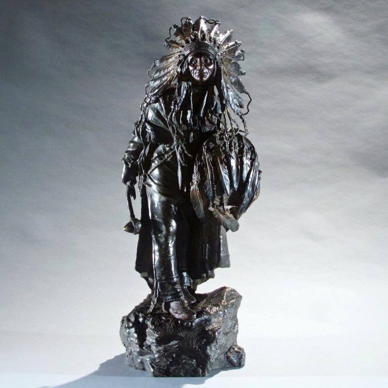 Bronze Sculpture of Indian Chief After Carl Kauba
