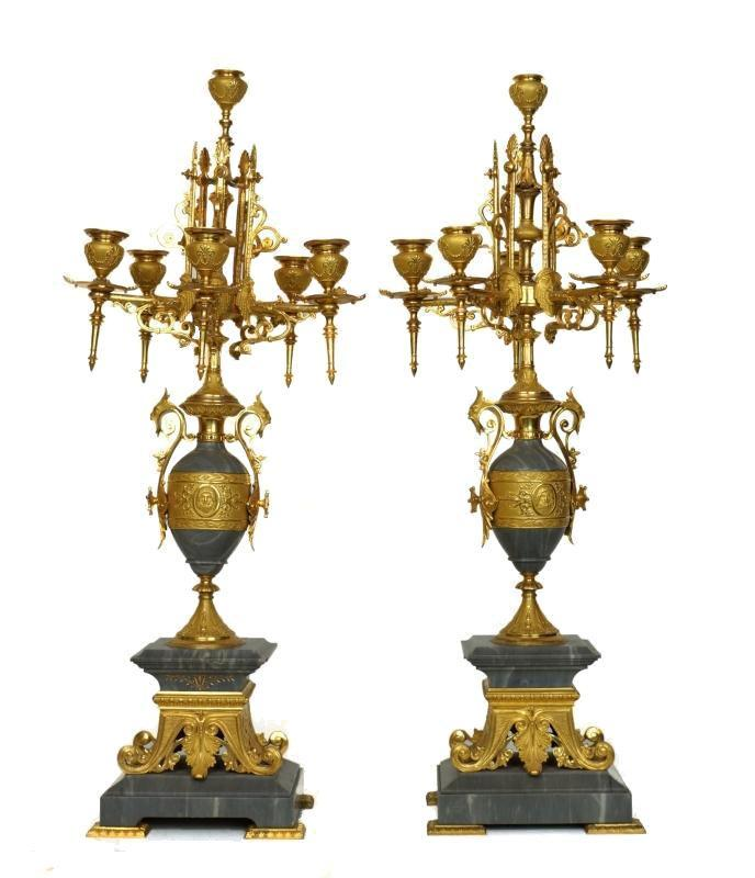 Pair Gilt Bronze and Marble Neoclassical Candelabra