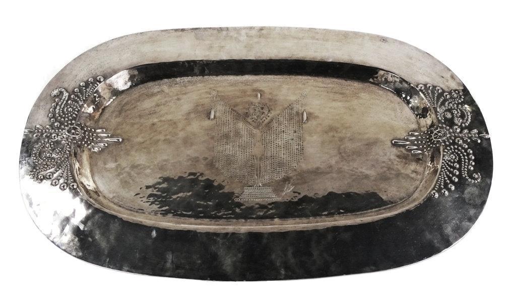 Erte Designed Art Deco Silverplated Brass Centerpiece Tray