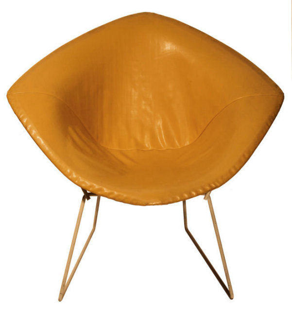 Remarkable Harry Bertoia Diamond Chair With Original Yellow Faux Leather Upholste Gmtry Best Dining Table And Chair Ideas Images Gmtryco