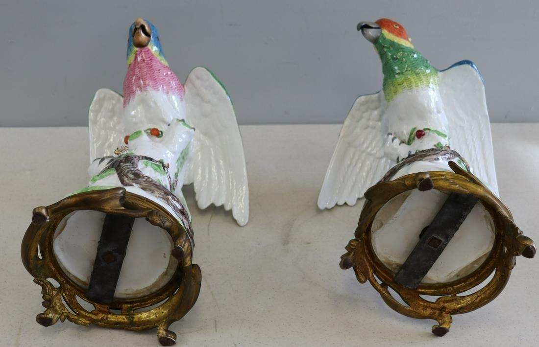 Pair Meissen Style Bronze Mounted Porcelain Parrot Figurines