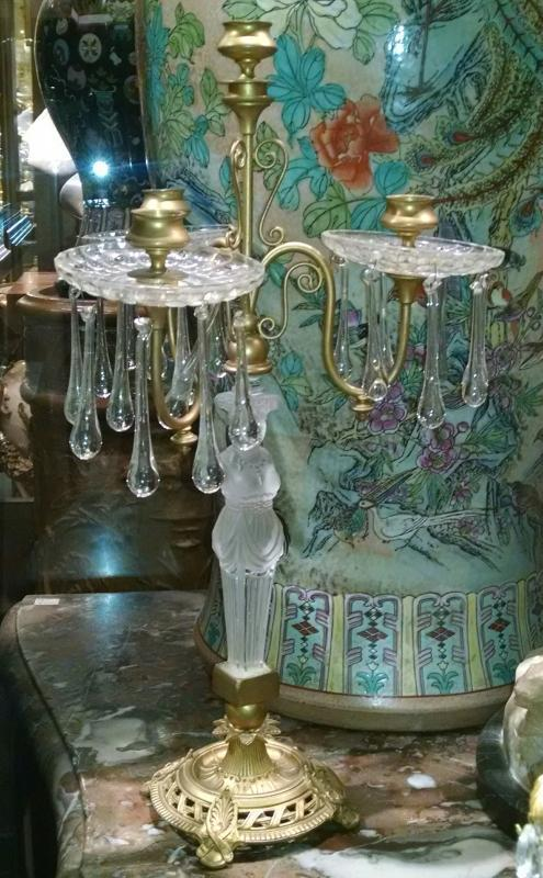 Pair Empire Style Gilt Bronze and Figural Glass Candelabra