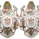 Pair Antique Chinoiserie Porcelain Sconces
