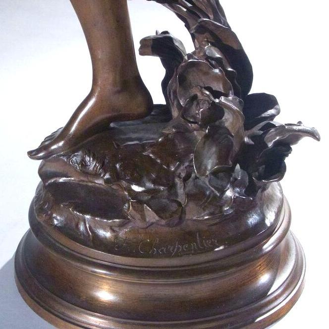 Brise Bronze Sculpture by Felix Charpentier