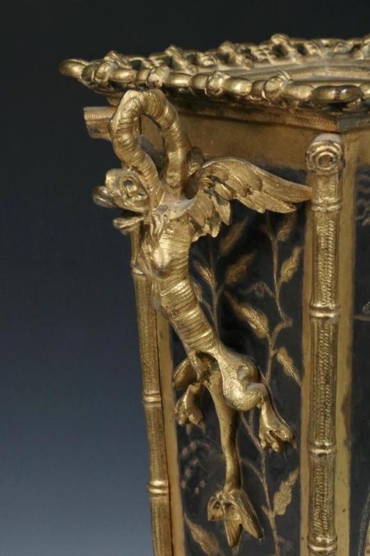 Japanese Niello Bronze Aesthetic Period Flower Vase