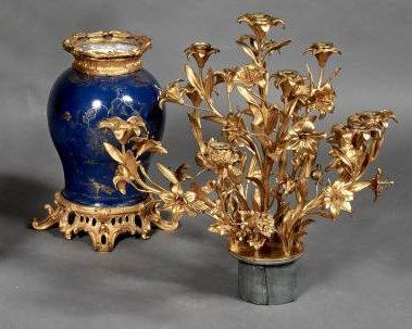 Pair Gilt Bronze Mounted Qing Chinese Powder Blue Porcelain Vase Candelabra