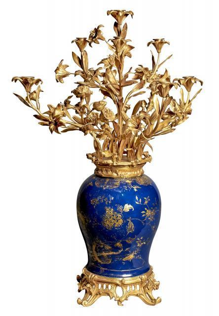 Pair Gilt Bronze Mounted Qing Chinese Powder Blue Porcelain Vase Candelabra