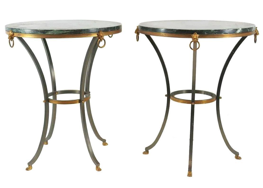 Pair Mid-Century French Marble and Bronze Gueridon Side Tables