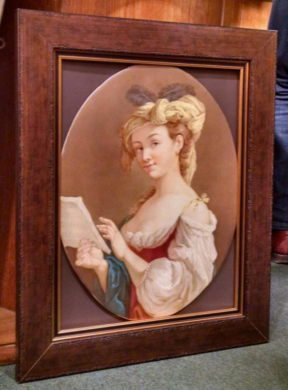 Large Antique KPM Porcelain Portrait Plaque After Louis Jean Francois Lagrenee (1725-1805)