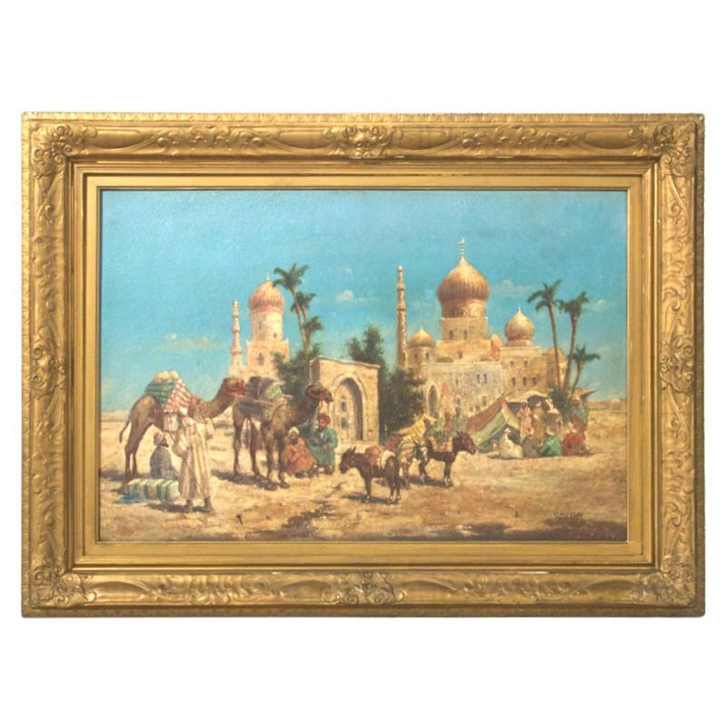 Orientalist Egyptian Caravan Genre Oil on Canvas by Meron