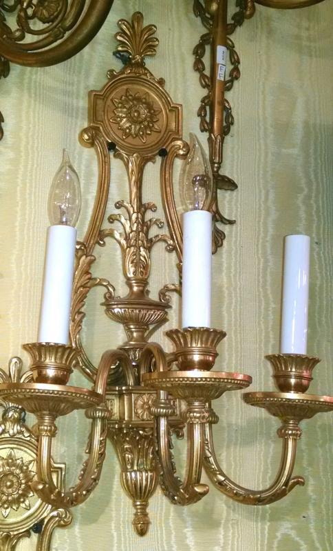 Pair Antique Louis XVI Style Gilt Bronze Sconces