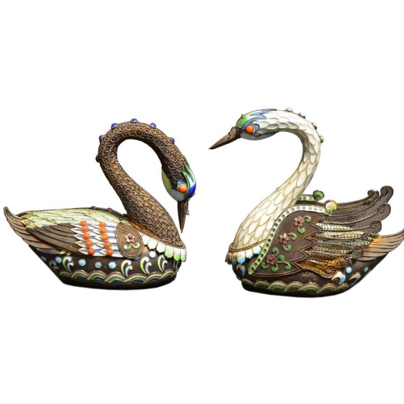 Pair Vintage Chinese Silver and Enamel Swan Boxes