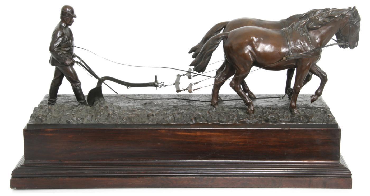 Albert Moritz (1854-1923) Bronze Sculpture of Farmer Tilling Field