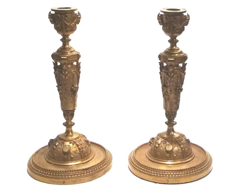 Louis-Constant Sevin Gilt Bronze Candlesticks from Barbedienne