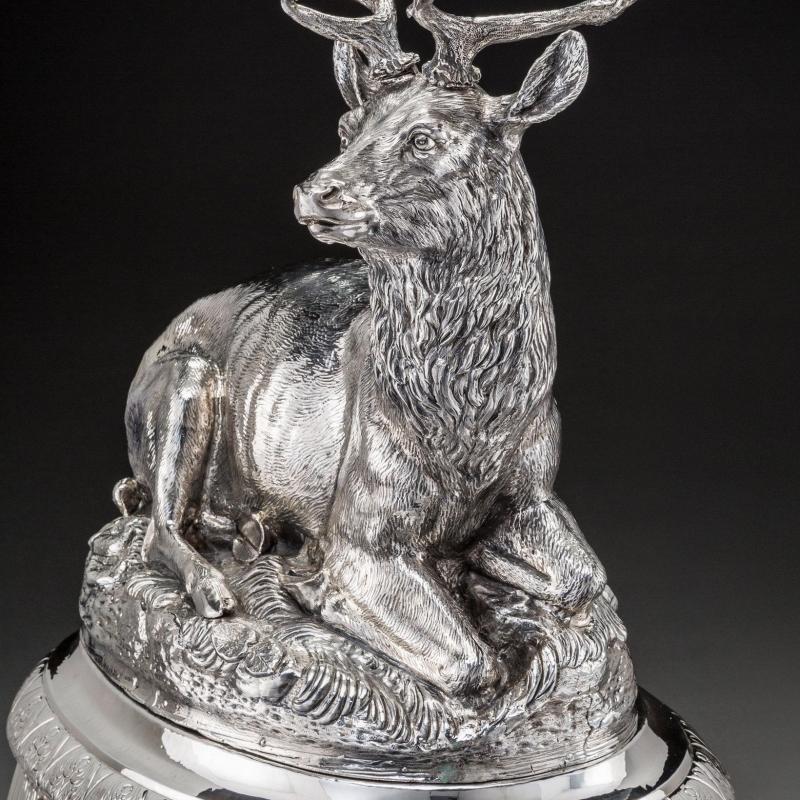 Stag Deer Form Sterling Silver Centerpiece Candelabra