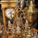 Pair Antique French Gilt Bronze & Crystal Girandole Candelabra