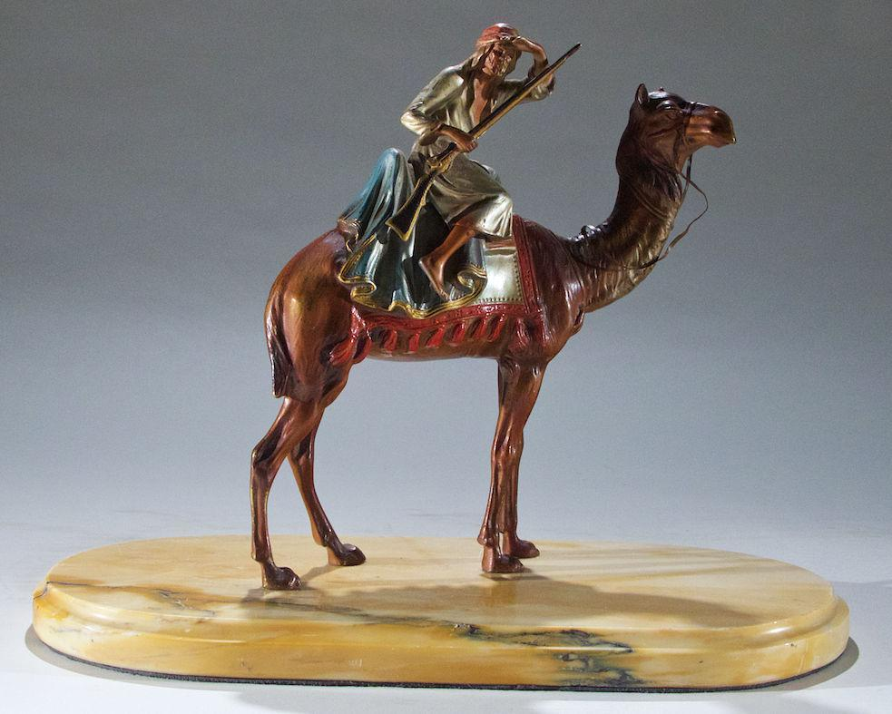 Austrian Cold Painted Bronze Sculpture of Arab on Camel