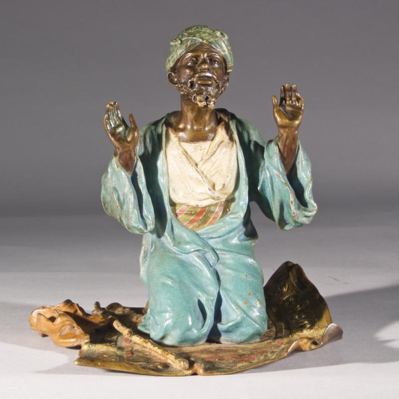 Franz Bergman Cold-Painted Bronze Figurine of Man in Prayer