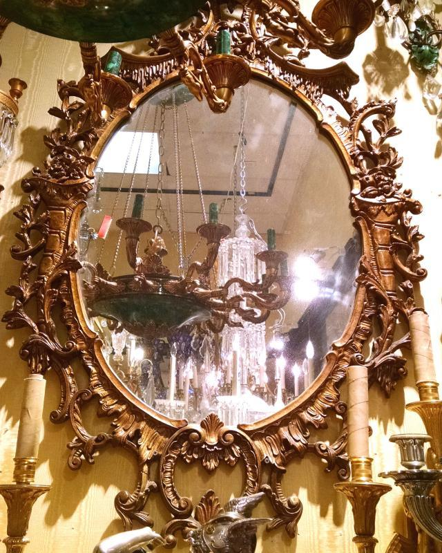 Chippendale Chinoiserie Rococo Style Giltwood Overmantel Mirror