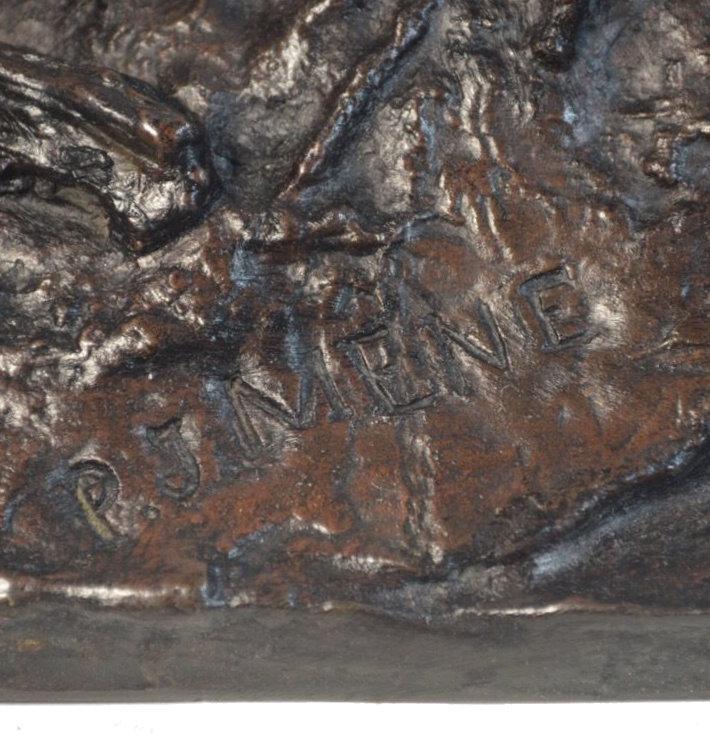 Patinated Bronze Sculpture of Elk After P.J. Mene