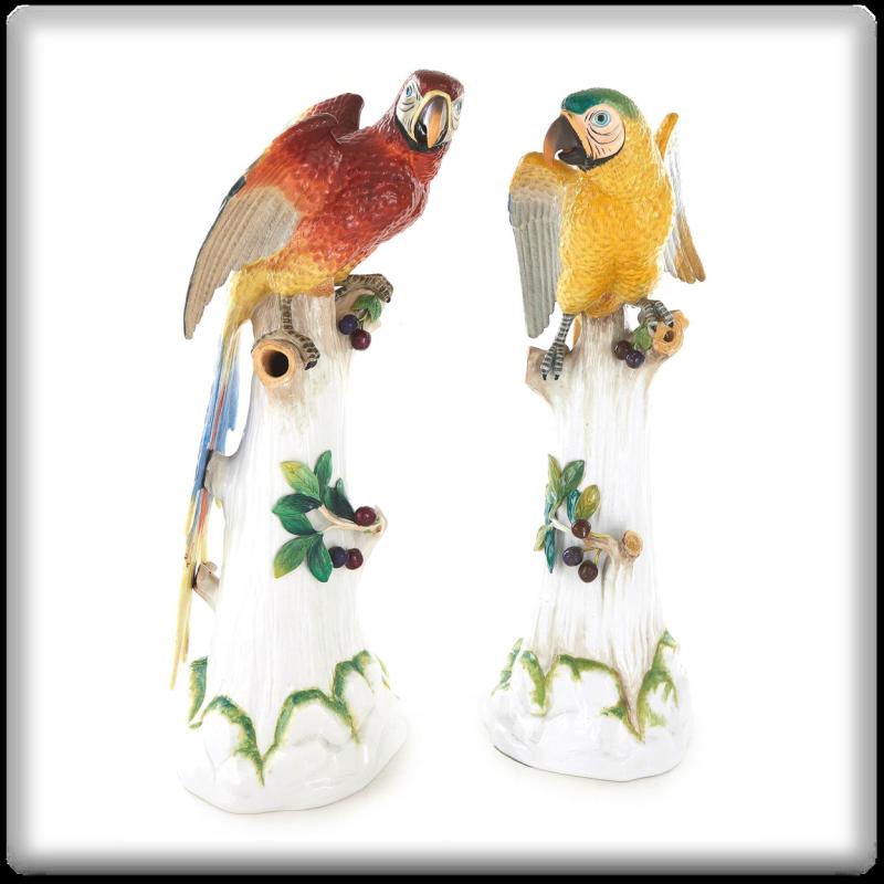 Pair Large Dresden German Porcelain Parrots Figurines
