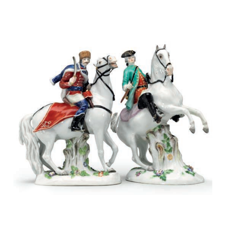 Pair Antique Meissen Porcelain Equestrian Figurines