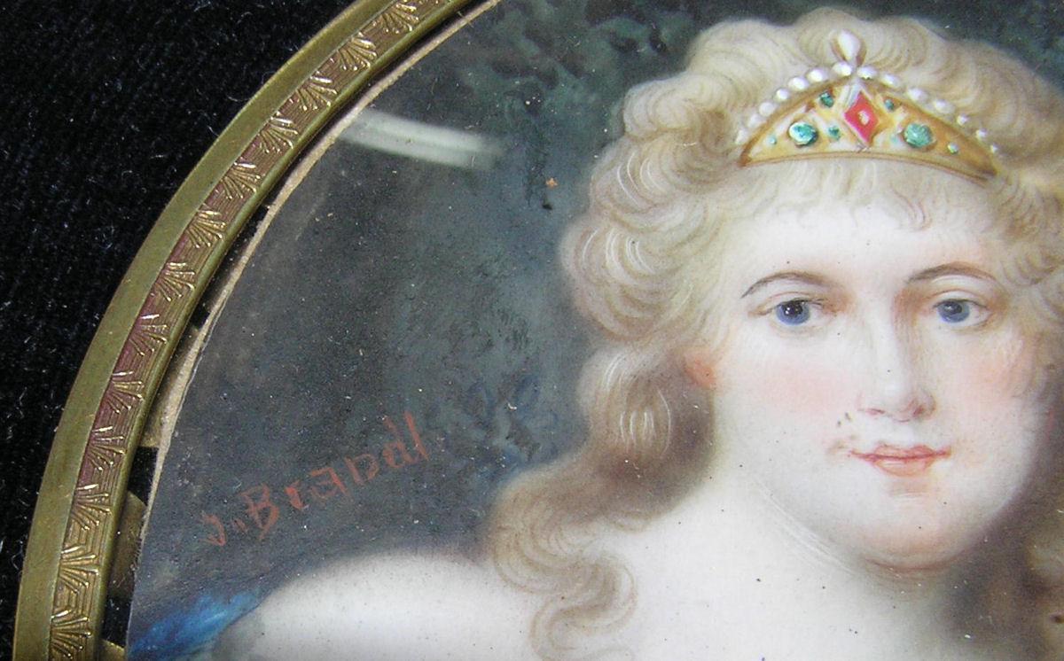 Miniature German Austrian Portrait of Queen or Princess
