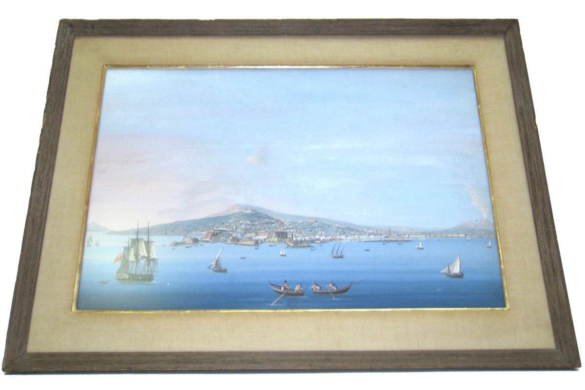Pair Antique Neopolitan School Gouache Watercolor Paintings of Naples Harbor