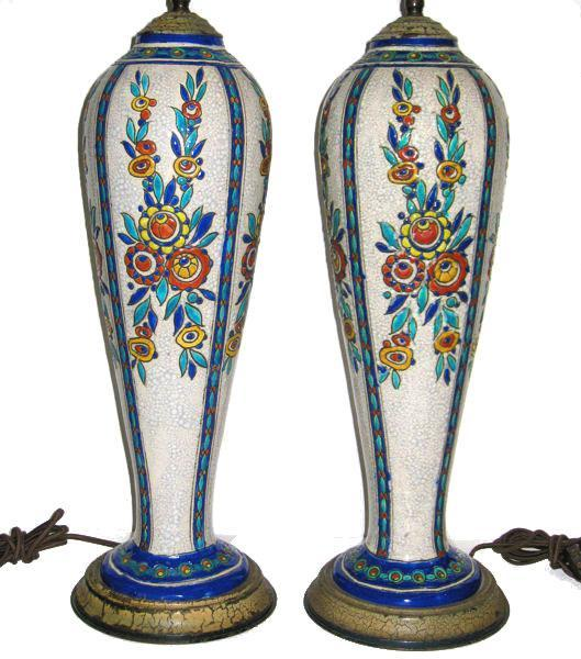 Pair Boch Freres Art Deco Ceramic Table Lamps