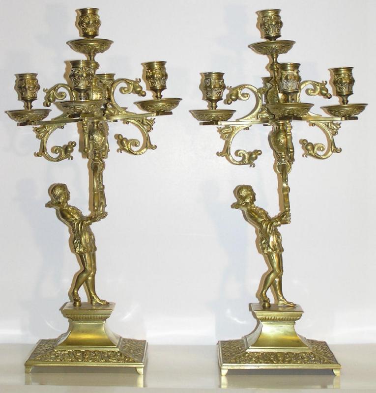 Pair Rennaissance Revival Bronze Candelabra