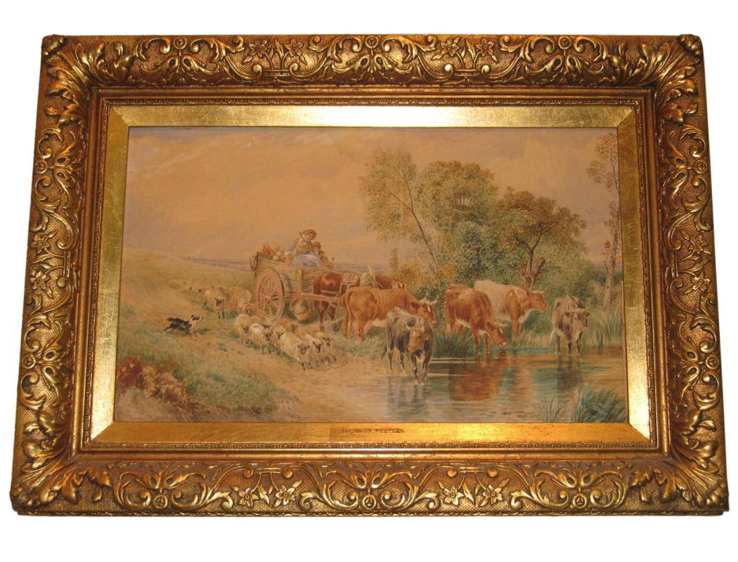 Vernon Foster (Act. 1880-1920) Figural Landscape Watercolor Painting