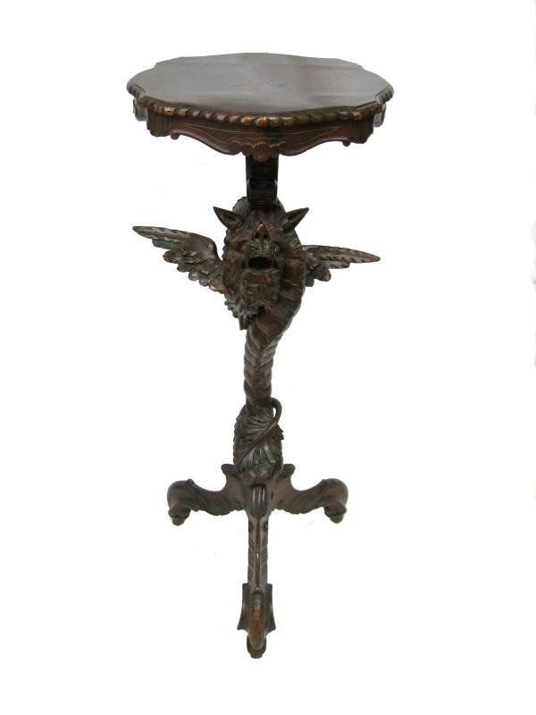 Antique Black Forest Carved Torchere Plant Stand