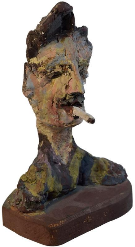 Smokey Tunis Self Portrait Ceramic Bust Sculpture