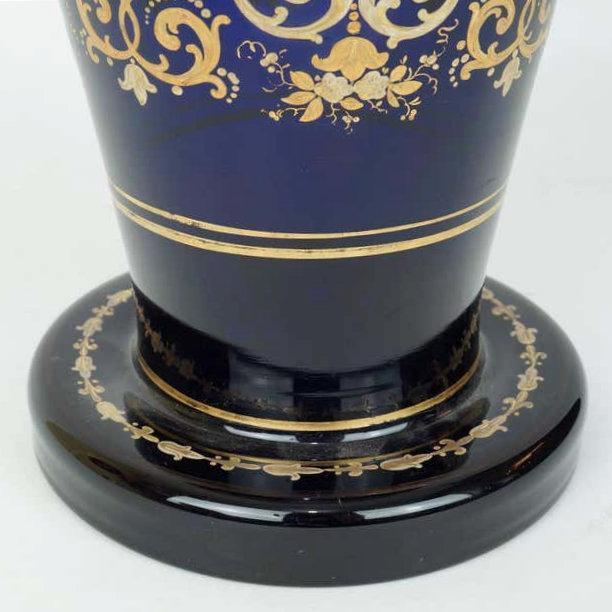 Antique Bohemian Gilt Blue Glass Vase