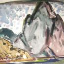 Rock of Gibraltar Mid-century Modern Watercolor Painting by Homer Pfeiffer (1946)