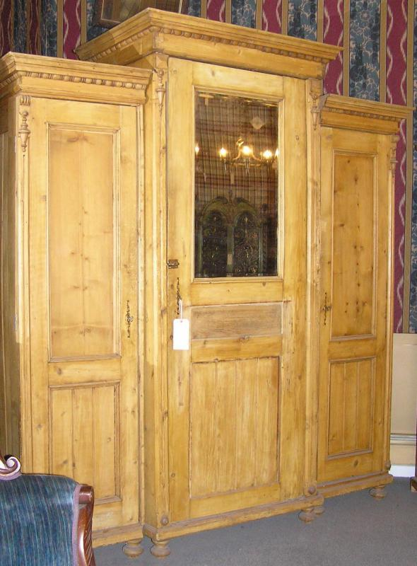 Antique Country Pine Classical Style Armoire