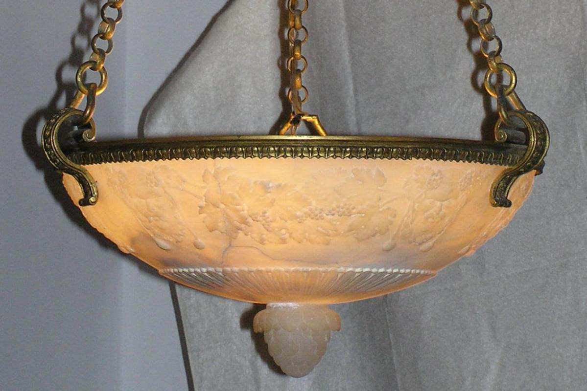 Bachanalian Alabaster & Bronze Pendant Coupe Chandelier Attributed to E.F. Caldwell