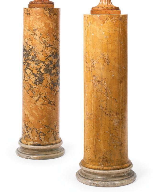 Pair of Neoclassical Alabaster Urns on Scagliola Pedestals