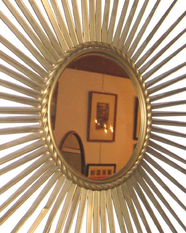 Chaty Villauris Mid-Century Modern Brass Starburst Mirror