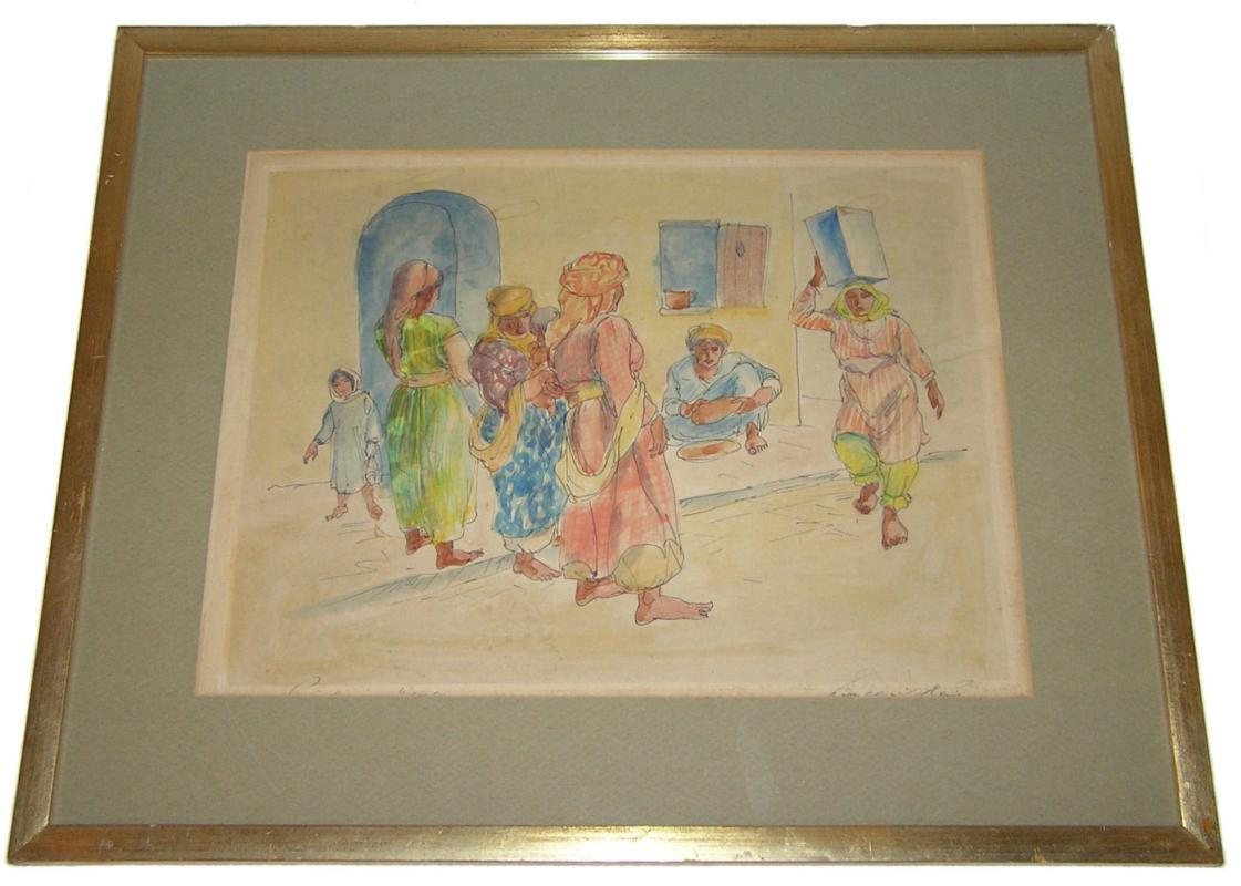 Three Framed Israeli Kibbutz Genre Lithographs by Lionel Reiss (1894-1986)