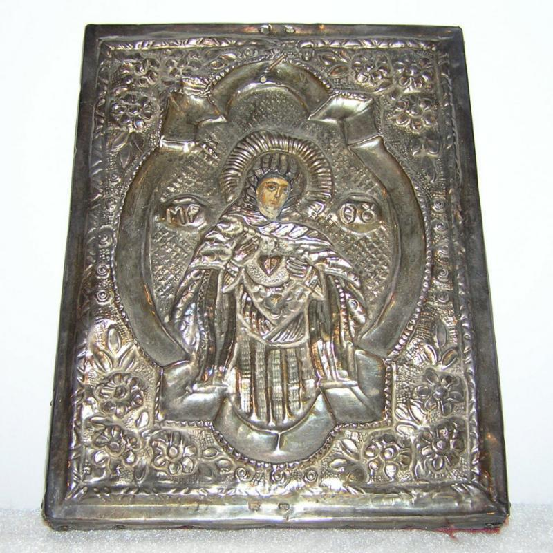 Antique Russian Silver Icon